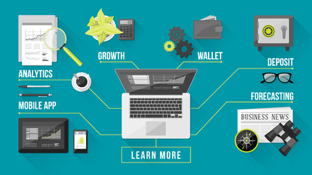Business and finance services concepts with tools an objects on a desktop top view Vector