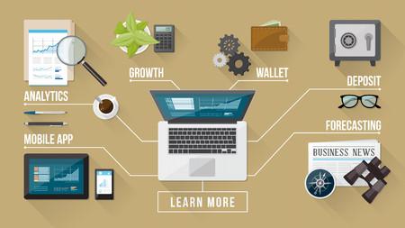 Zakelijke en financiële dienstverlening concepten met hulpmiddelen van een object op een desktop bovenaanzicht