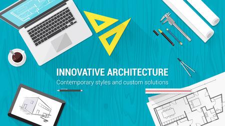 arquitecto: Escritorio Arquitecto con herramientas como portátiles, tabletas y plan de construcción