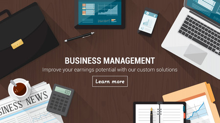 Zakelijke desktop met documenten, computer en hulpmiddelen, financiële bezetting en beurs-concept Vector Illustratie