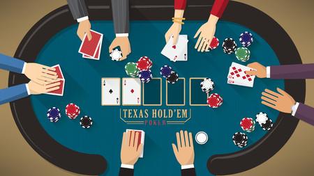 cartas de poker: La gente que juega al poker en torno a una mesa de p�quer con distribuidor, la mujer est� ganando Vectores