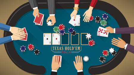 People playing poker around a poker table with dealer, the woman is winning