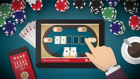 Online poker app with hand touching on tablet touch screen, smart phone, cards and chips all around