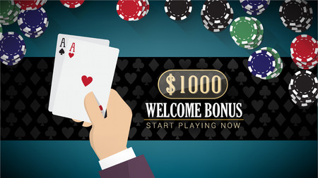 Poker online banner with hand holding two aces and chips all around