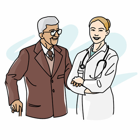 retirement home: Female doctor caregiver supporting a senior patient Illustration