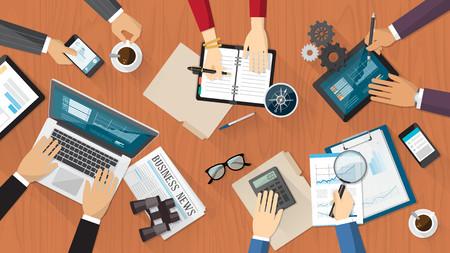 비즈니스 사람들이 책상에 근무하는 금융 및 비즈니스 팀워크 일러스트