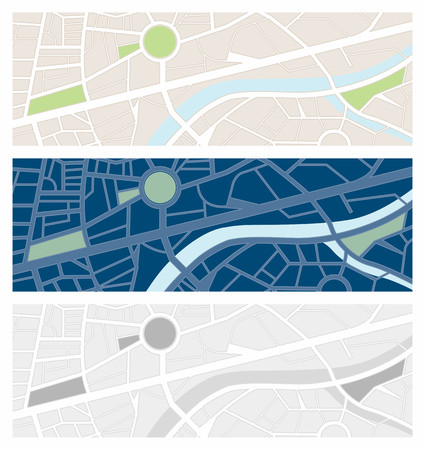 night vision: Navigator maps banner set with night vision and grayscale Illustration