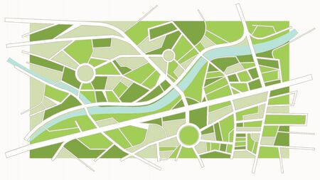 Abstract green city map with river, streets and roundabouts Illustration
