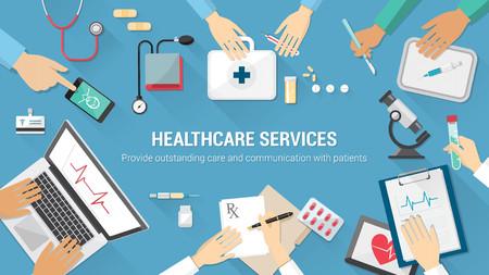 lekarza: Zespół medyczny pulpit z lekarzami i sprzętu medycznego Ilustracja