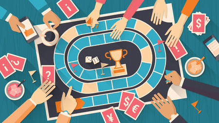 brettspiel: Gruppe von Menschen zusammen mit einem Brettspiel spielen