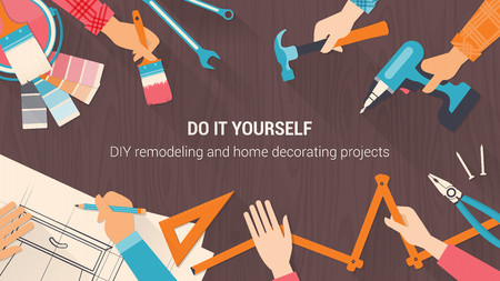 DIY-Banner mit Werkzeug-Set, und Team zusammen Hände close up, Vintage-Farben arbeiten