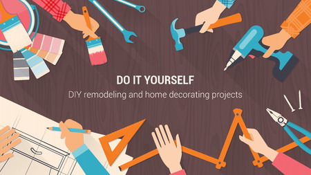 DIY banner with tools set, and team working together hands close up, vintage colors Illustration