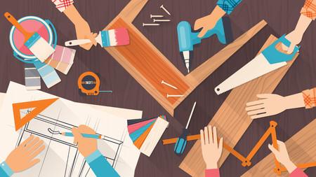 carpintero: Equipo de trabajadores que utilizan herramientas de bricolaje y trabajan en un proyecto de carpinter�a Vectores
