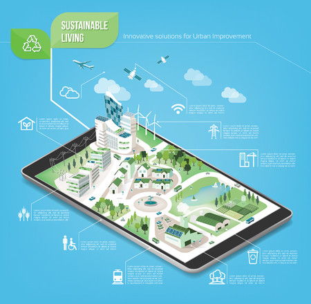 city building: Sustainable city on a digital touch screen tablet with icons set on architecture and environmental care