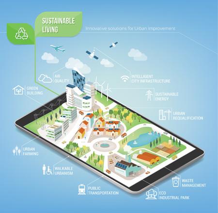 Ciudad sostenible en una tableta de pantalla táctil digital con iconos conjunto sobre la arquitectura y el cuidado del medio ambiente