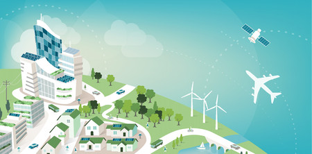 eco power: Green sustainable city banner with planet earth and sky, environmental care and ecology concept Illustration