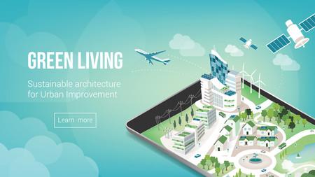 Ciudad verde y la bandera sostenible arquitectura con metrópolis 3d en una tableta de pantalla táctil o teléfono inteligente