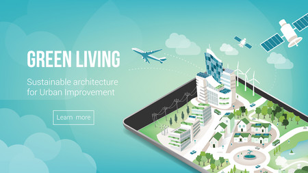 satellite view: Green city and sustainable architecture banner with 3d metropolis on a touch screen tablet or smart phone