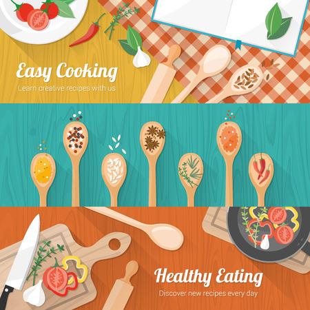 음식과 요리 배너 나무 테이블 조리대에 주방 용품, 향신료와 야채를 설정