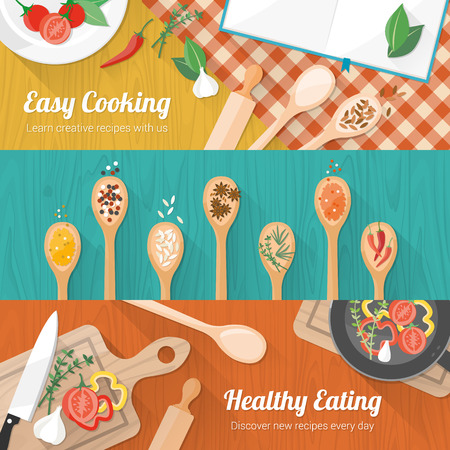 ladles: Food and cooking banner set with kitchenware utensils, spices and vegetables on wooden table worktop Illustration