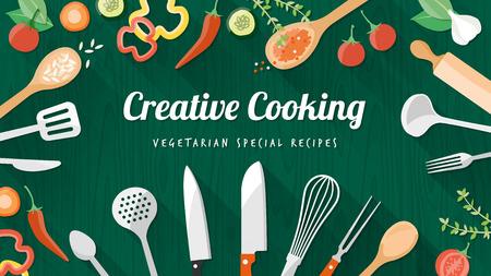 cuchillo de cocina: Recetas de comida vegetariana y vegana pancarta con utensilios de cocina, utensilios y verduras picadas, copyspace en el centro
