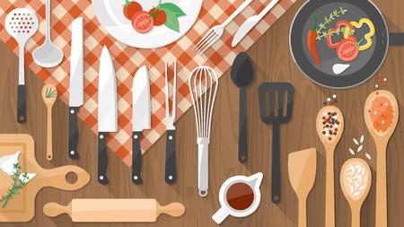 Keukengerei keukengerei en voedsel op een houten werkblad, het bereiden van voedsel en koken begrip