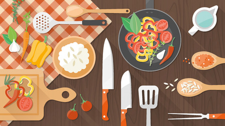 Cooking in the kitchen with utensils and food