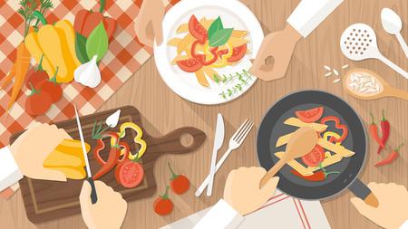 ustensiles de cuisine: Équipe de chefs travaillant ensemble et la cuisine un repas végétarien, les mains au travail de près