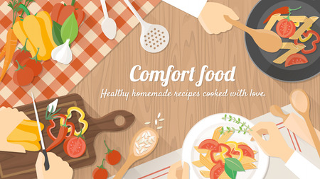 �cooking: Personas de los cocineros que trabajan juntos y cocinar una comida vegetariana, con las manos en el trabajo de cerca
