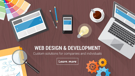 web design template: Web developer desk with computer, tablet and mobile, responsive web design and digital marketing concept