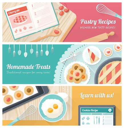 Pastry cooking and recipes banner set with kitchen utensils and sweets Illustration