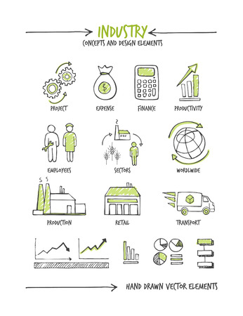 business concepts: Industry and business hand drawn sketched concepts Illustration
