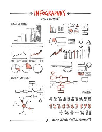 grafica de barras: Elementos de diseño de Infografía y conceptos de croquis dibujado a mano