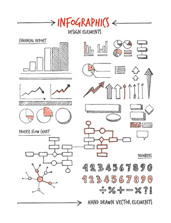 sketched shapes: Infographic design elements and concepts hand drawn sketch
