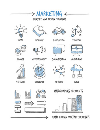business hand: Marketing and business hand drawn concepts and icons