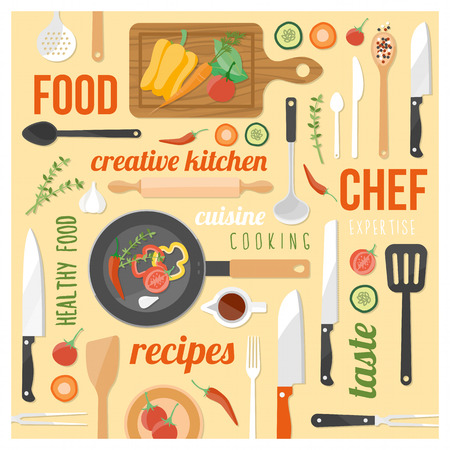 kitchen tools: Creative cooking background with kitchen tools, food ingredients and words ona  yellow background ina  square frame