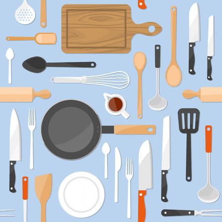 Küchenwerkzeuge nahtlose Muster mit Küchengeräte auf hellblauen Pastellhintergrund Illustration