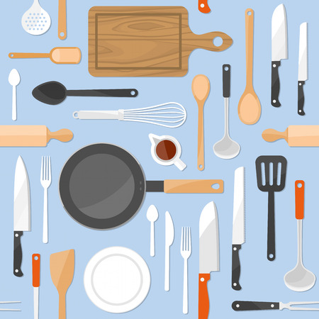 cooking utensils: KItchen tools seamless pattern with kitchenware equipment on light blue pastel background