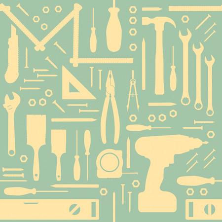 DIY und Renovierungs-Tools Jahrgang nahtlose Muster mit Silhouetten