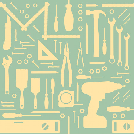 DIY and home renovation tools vintage seamless pattern with silhouettes Illustration