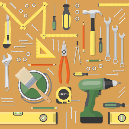 home decorating: DIY and home renovation tools seamless pattern background Illustration