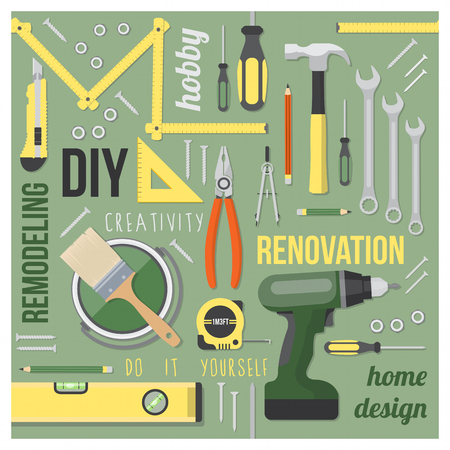 DIY and home renovation tools set with words and concepts in a square frame on green background