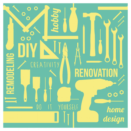 handyman tools: DIY and home renovation tools silhouettes with words and concepts in a square frame