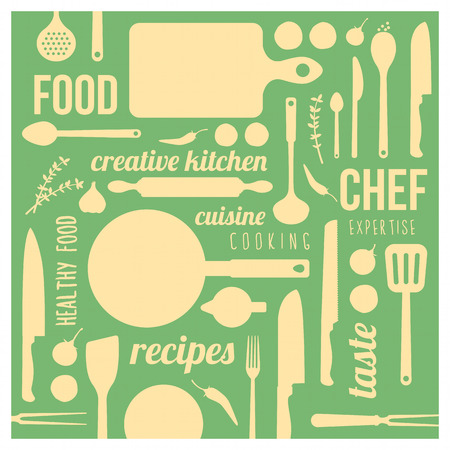 gourmet cooks: Vintage food and cooking background with kitchen tools, ingredients and words in a square frame