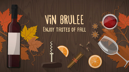 wines: Vin brulee or mulled wine banner with bottle of wine, spices and vine leaves, fall concept