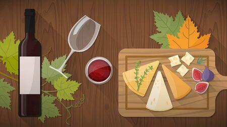 Wijnproeverij met heerlijke hapjes, kaas ANF fruit op een rustieke snijplank, glas rode wijn op een houten tafel bovenaanzicht