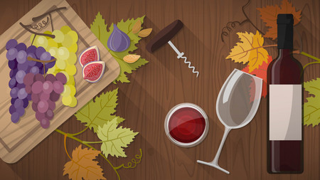 glass with red wine: Wine tasting banner with bottle, red wine glass, corkscrew and grapes on a wooden cutting board, top view Illustration