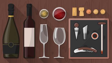 Wein-Tasking-Toolkit für Winzer, Sommeliers und Experten, darunter Weinglas, Flaschen, Korkenzieher und verschiedene Objekte auf Holzuntergrund