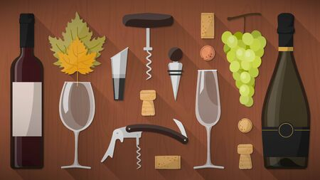 sommelier: Wine tasking toolkit for wine makers, sommelier and experts, including wine glass, bottles, corkscrews and assorted objects on wooden background