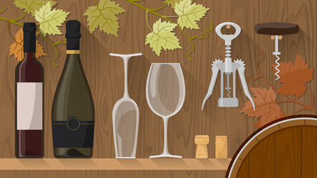 glass with red wine: WIne bottles, wine glasses and corkscrews on a shelf with wooden wall on background